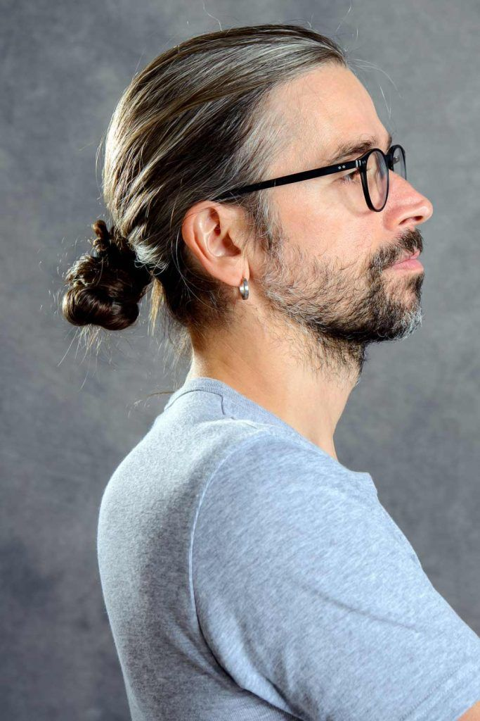 Low Man Bun For Long Hair #menbun #manbun