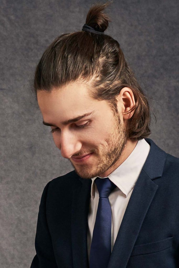 Messy Half-Up Bun For Shoulder Length Hair #menbun #manbun