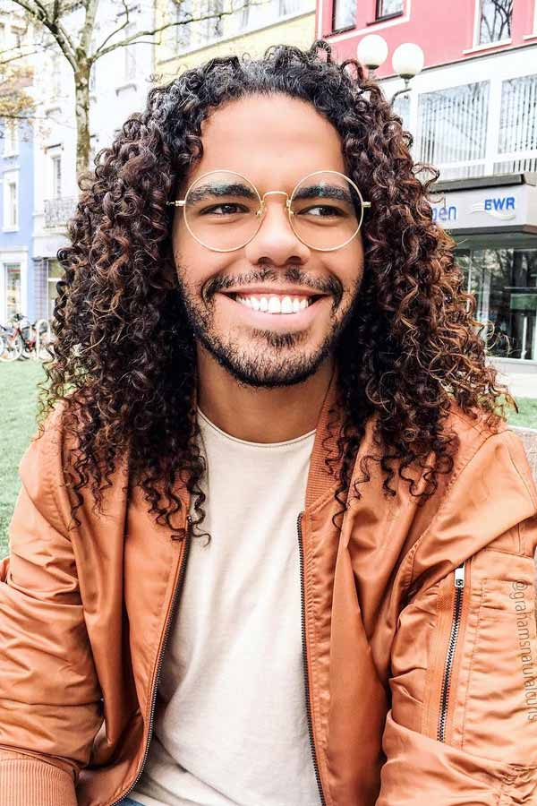 Long Natural Curls #blackmenhairstyles #afrohair #afrohairstyles