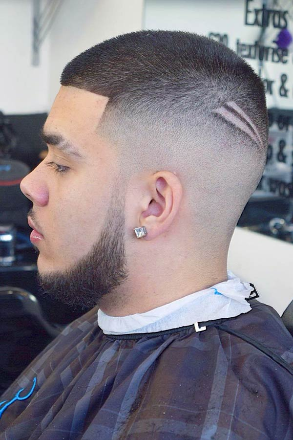 Fade With Hair Design #buzzcut #haircuts #menhaircuts
