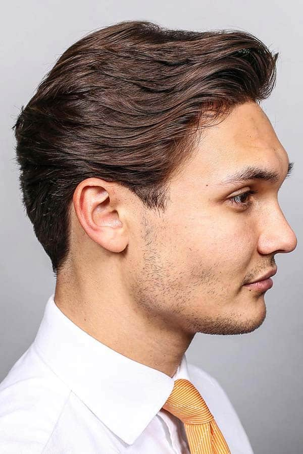 Layered Haircut For Medium Length Hair #mediumhaircutsformen #layeredhair #slickback