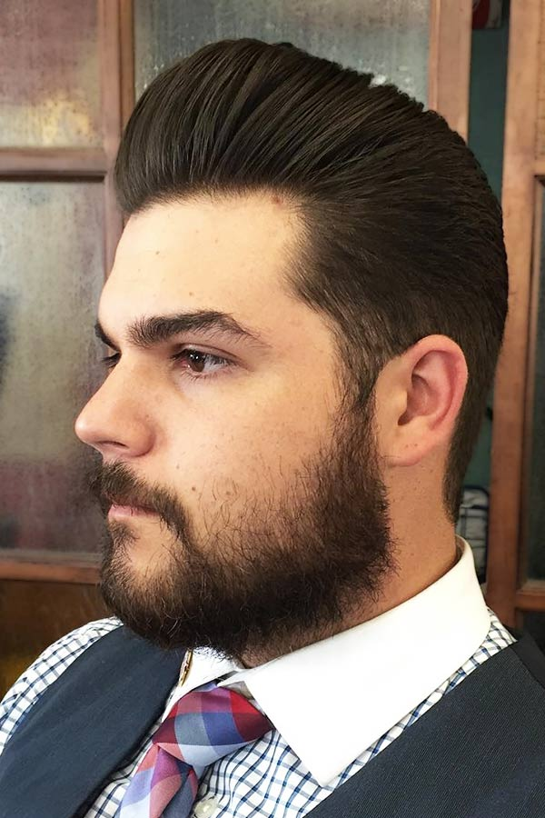 Medium Slick Back With Beard #mediumhairstyles #mediumhair #mediumhairman