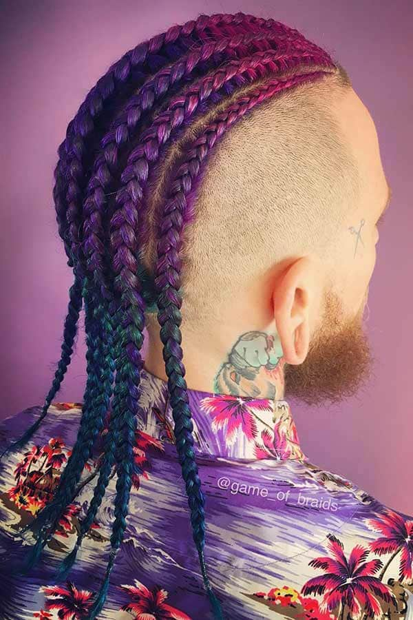 Colored Cornrows #cornrows #manbraid #menslonghairstyles