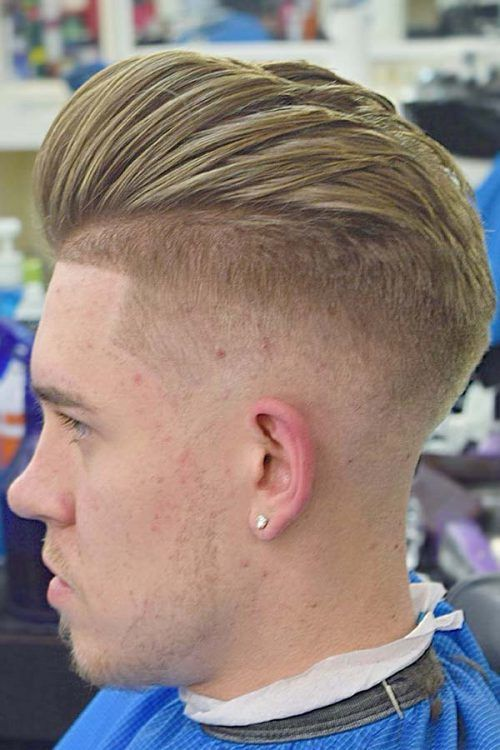 Fade Haircut With Slicked Back Blonde Top #baldfade #skinfade #fadehaircut
