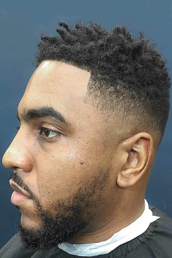 Bald Fade With Fro Curls