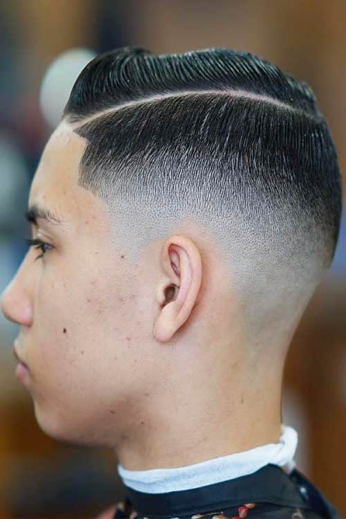 Bald Fade With Side Parted Hairstyle