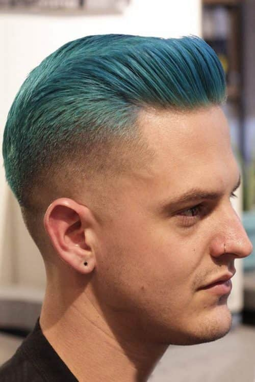 Slicked Back Top With A Low Fade #slickback #lowfade #bluehair