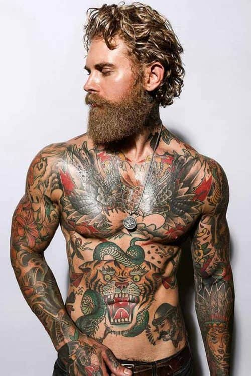 Medium Length Hair With Beard #curlymediumhair #menbeards #mustachestyleswithbeard