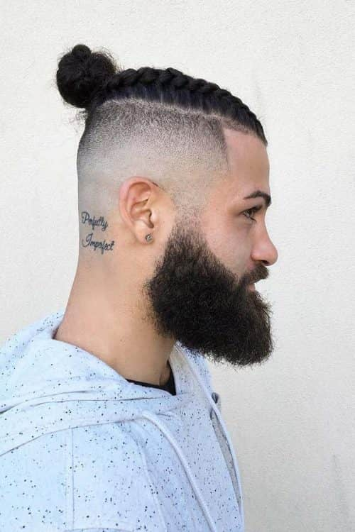 Braided Bun And Beard Shape #manbraid #bunbeardshape #highfadehaircut