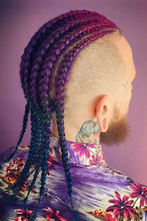 Colorful Cornrows #manbraid #colorfulcornrows #baldfade