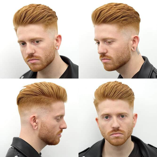 Fade With Quiff #quiff #quiffhair #redhairmen #midfade #fadehaircut