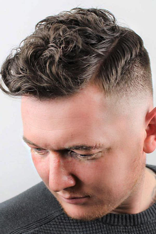Medium Fade With Curly Top #fade #fadehaircut #midfade