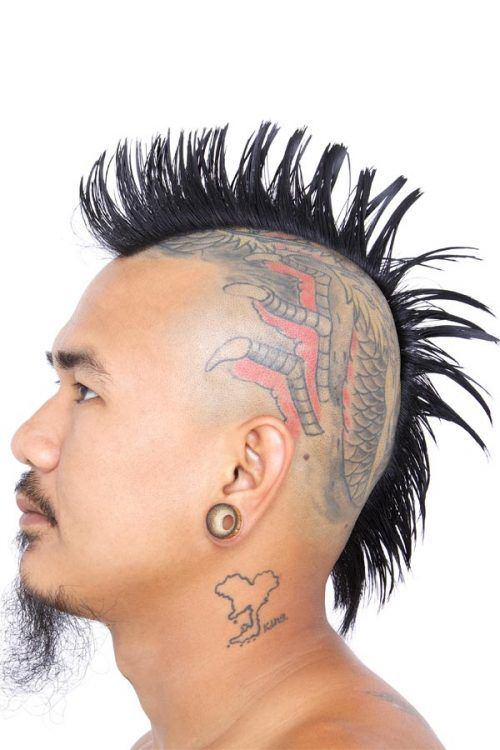 Mohawk Haircut With Head Tattoo #mohawk #mohawkhaircut