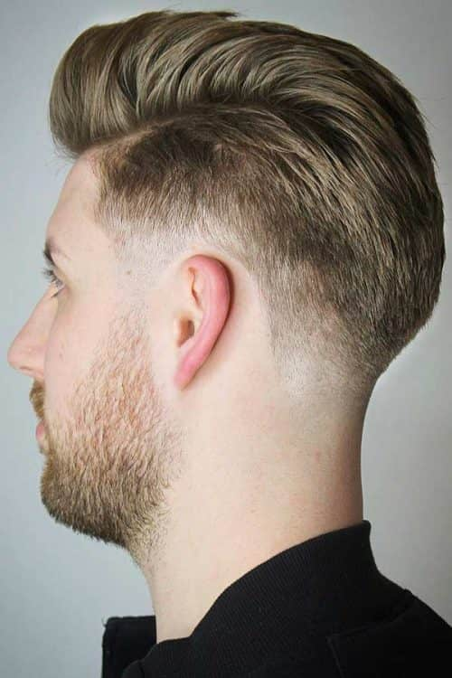 Brushed Back Taper Fade Haircut #taper #taperfade #sidepart #slickback
