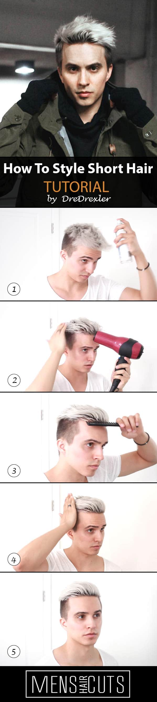9 Ways How To Style Short Hair Step By Step Tutorials Menshaircuts