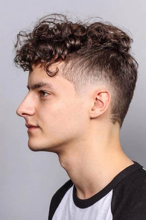 Burst Fade With Curly Hair #curlyhairtop #burstfade