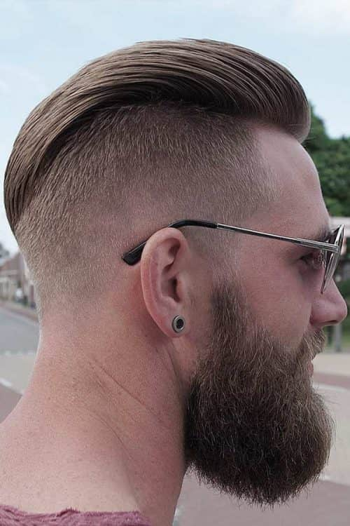 Casual Disconnected Undercut #slickbackhair #beardstyle #disconnectedundercut