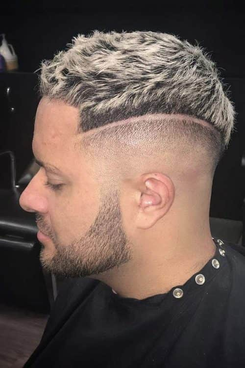 Shaved Line Temp Fade Haircut #shavedline #tempfade #blondehairmen #texturedtop