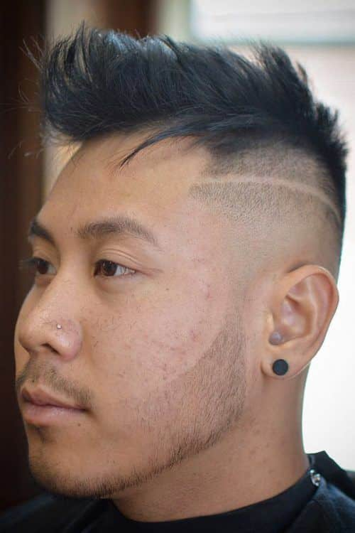 Faux Hawk With Shaved Stripe #asianhairstyles #fauxhawk #hardpart