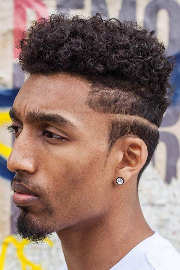 Curly Hair With Razor Line #curlyhairmen #razorlinecut #highcurlytop
