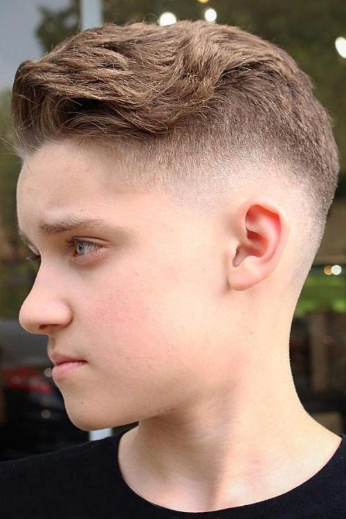 Neat Push Back with Faded Sides  #boyshaircuts #haircutsforboys