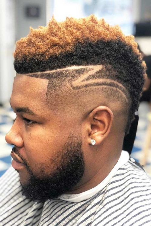 Two Toned Faux Hawk Hair Tattoo #fadehaircut #blackmenhaircuts