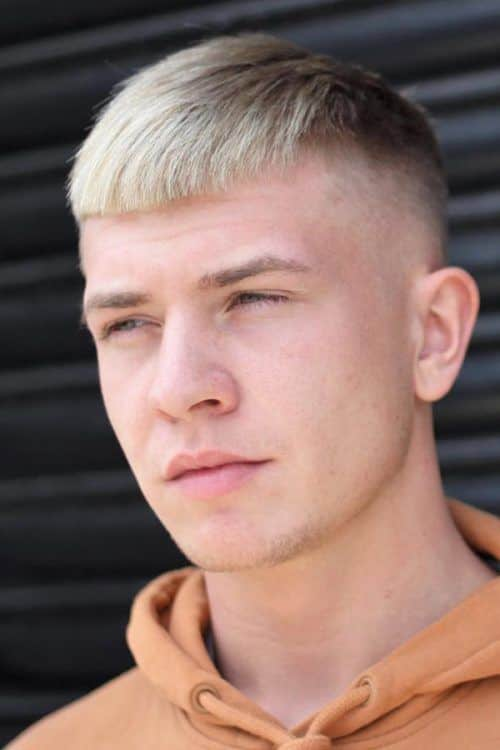 High And Tight Mens Hair Styles #shorthairstylesformen #shorthaircutsmen #fadehaircuts #caesarcut #blondehairmen