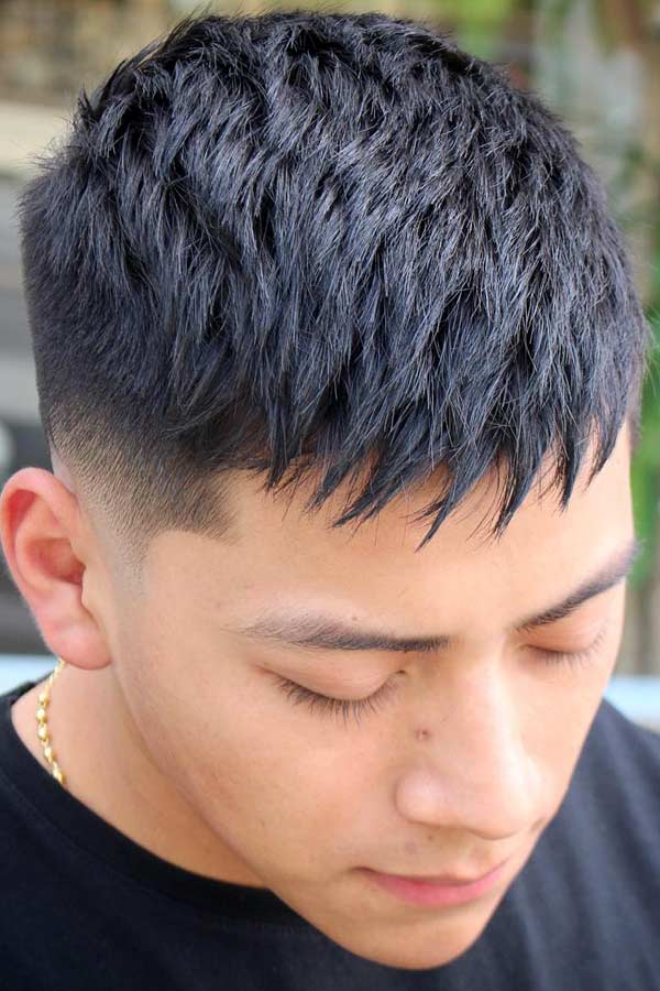 Military Haircut With Spiky Fringe #spikyhairstyles #spikyhair #menshaircuts #shortmenshaircuts