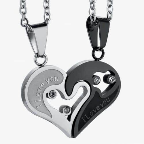 Stainless Steel Mens Womens Couple Necklace Pendant Love Heart CZ Puzzle Matching (Jstyle) #valentinesdaygifts