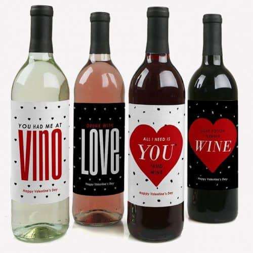 Valentines Day Wine Bottle Labels Set of 4 #valentinesdaygifts