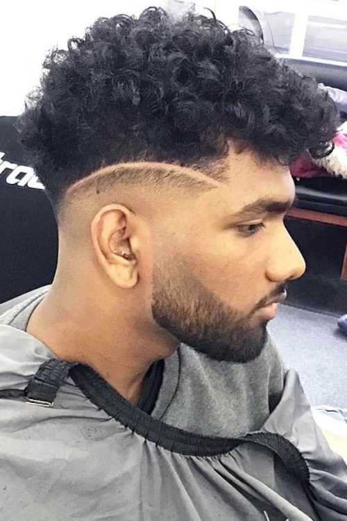 Curly Hair With Surgical Line #curlyundercut #curlyhairmen #menshaircuts