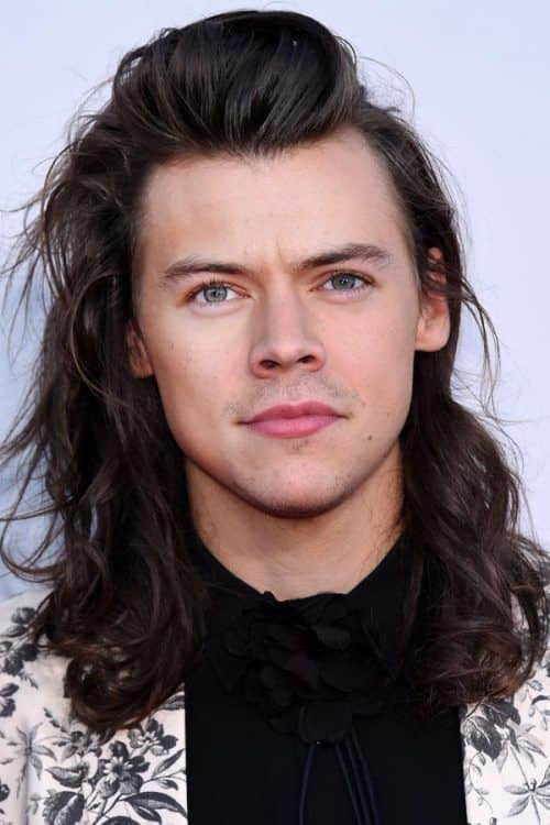 Long Swept Back Curly Hair #longhairmen #harrystyles