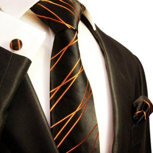 Black And Orange Patterned Silk Necktie Set #ties #mensties #tiesformen #suitaccessories