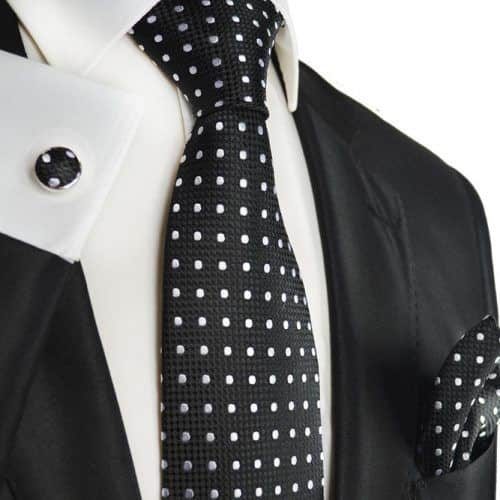 Black And White Polka Dot Silk Necktie Set #ties #mensties #tiesformen #suitaccessories