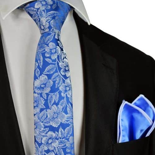 Blue Floral Slim Tie And Pocket Square #ties #mensties #tiesformen #suitaccessories