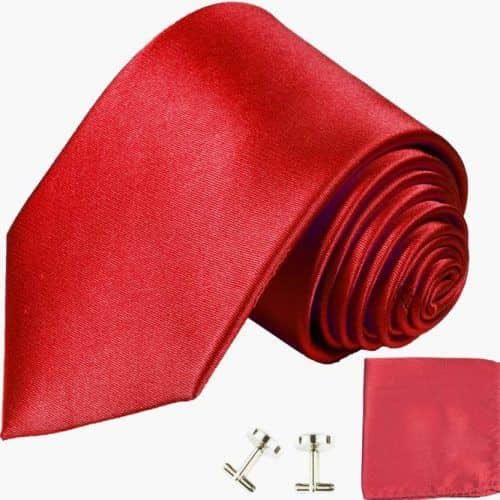 Extra Long Solid Red Classic Tie With Accessories #ties #mensties #tiesformen #suitaccessories