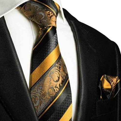 Gold And Black Silk Tie And Pocket Square #ties #mensties #tiesformen #suitaccessories