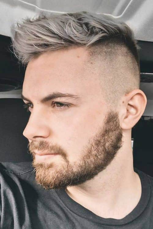 Some Cool Mens Haircuts Ideas With Patchy Beard #patchybeard #beardstyles #texturedhair #taperedhair #fauxhawk