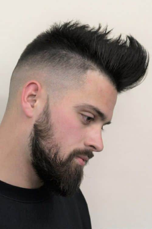Some Cool Mens Haircuts Ideas With Patchy Beard #patchybeard #beardstyles #texturedhair #fauxhawk #fadehaircut