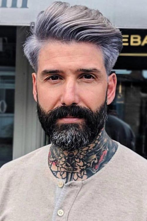Swept Back Purple Grey #silverhairmen #howtogetsilverhair #silverhaircolour #greyhair #grayhair