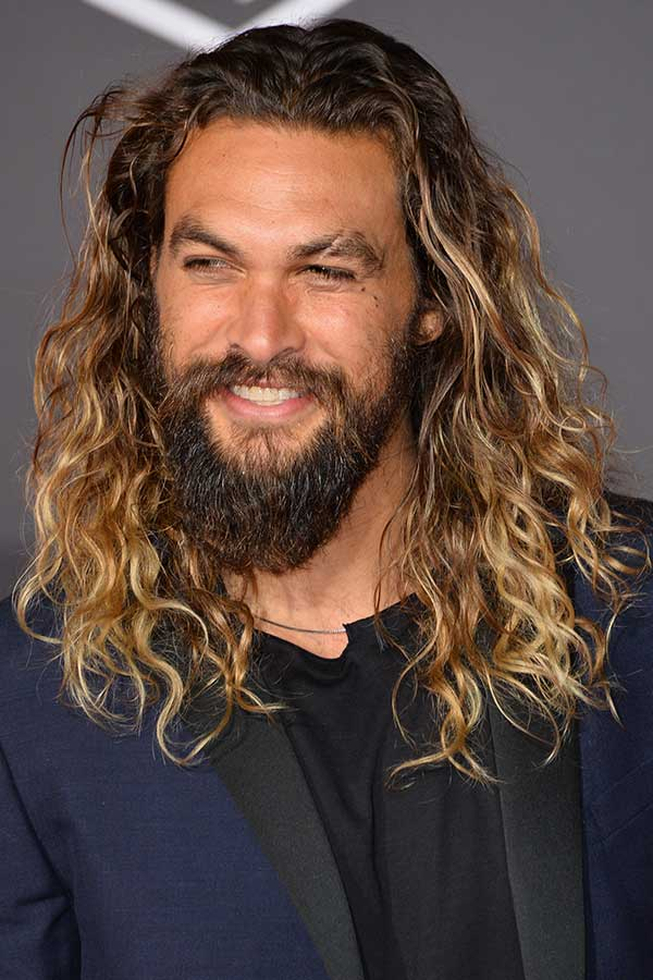 Jason Momoa's Long Curly Hair #surferhair #longhairmen #menshairstyles #beachwaves