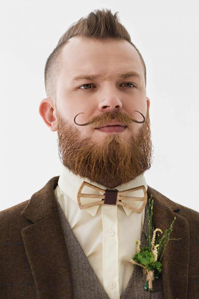 Short Mohawk And Moustache #weddinghair #weddiunghairstyles #weddinghairmen