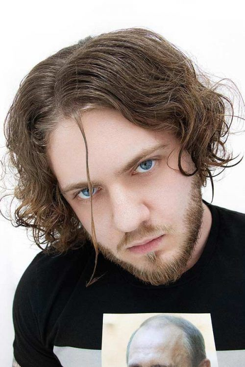 Medium Length Wavy Hair #manbob #curlyhairmen #hairtype #hairtypemen