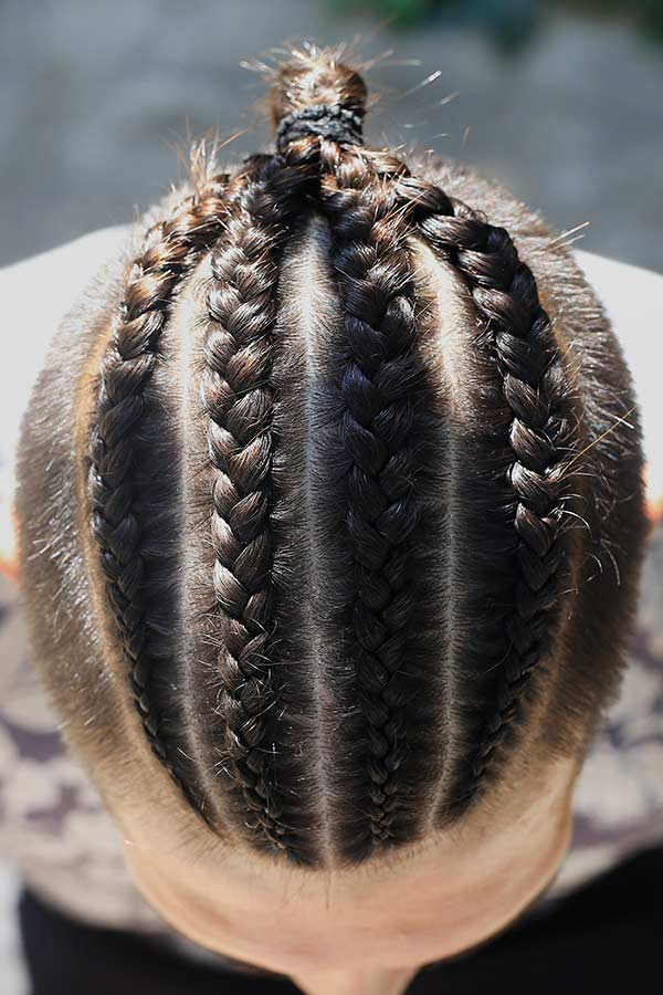 Four Cornrow Braids #undercut #manbraid #manbun #braidsformen #cornrows