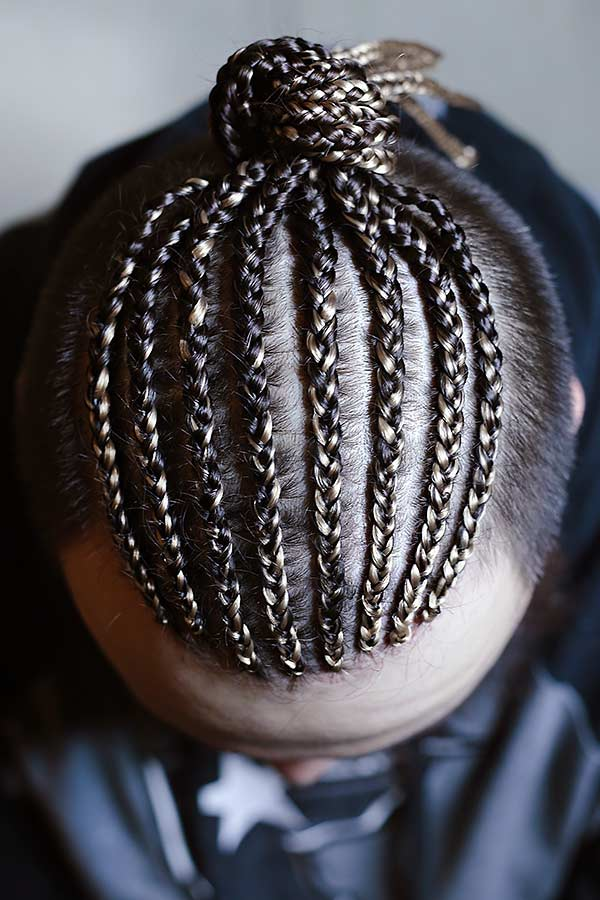 Small Cornrows #undercut #manbraid #manbun #braidsformen #cornrows