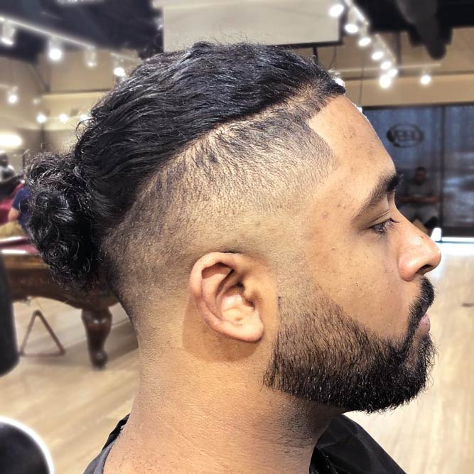 Curly Man Bun With Undercut #undercut #longhair #haircuts #menhaircuts