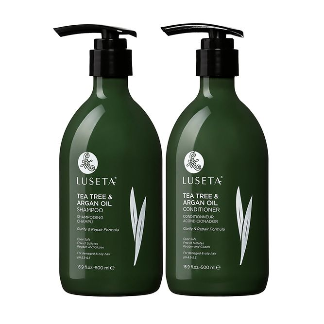 Luseta Tea Tree & Argan Oil Detangling Shampoo & Conditioner Set #hairlossshampoo
