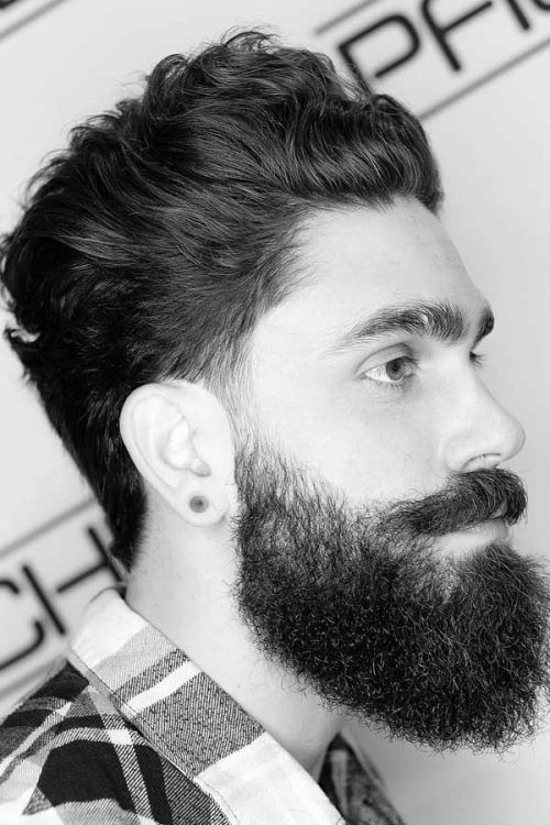 Swept Back Hair And Beard #menshairstyles #hairstylesformen