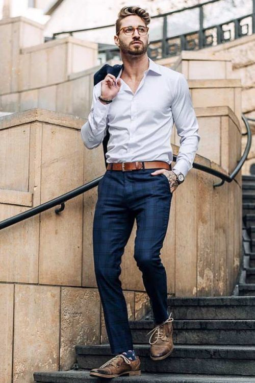 Business Casual Men's Outfits Blue Suit #businnescasual #manoutfit