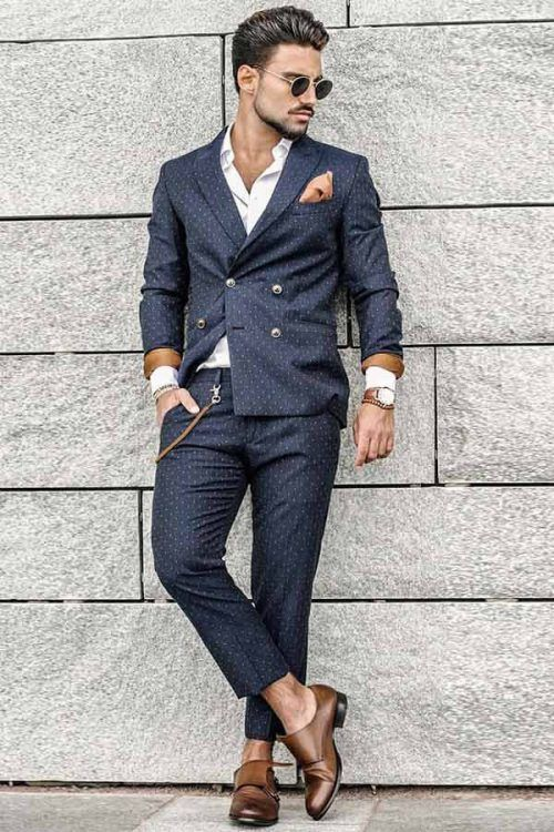 Business Casual Men's Outfits Blue Suit Brown Shoes #businnescasual #manoutfit